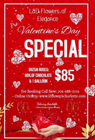 Valentine's Day Special One Dozen Roses w/One Balloon & Chocolate
