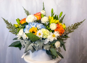 Precious Blue Box Arrangement in Lancaster, CA | GONZALEZ FLOWER SHOP