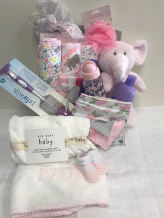Precious Baby Girl Gift Box  Assorted baby girl products and stuffed animal