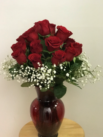 Precious Heart Red vase arrangement