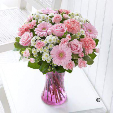 Precious Pink and White Vase Arrangement