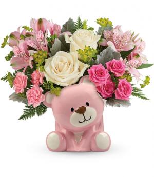 Precious Pink Bear All-Around Floral Arrangement in Winnipeg, MB | KINGS FLORIST LTD