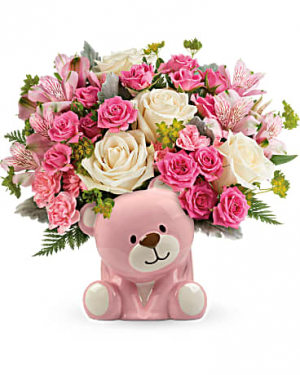 Precious Pink Bear Arrangement in Warrington, PA   ANGEL ROSE FLORIST INC.