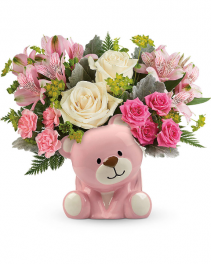 Precious Pink Bear Flower Arrangement