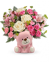 Precious Pink Bear New Baby Girl Flowers