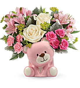 Precious Pink Bear Teleflora in Springfield, IL | FLOWERS BY MARY LOU