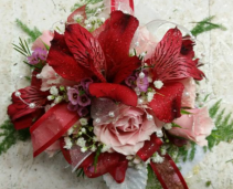 Precious Pink & Red  Wrist Corsage