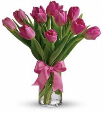 Precious Pink Tulips Arrangement