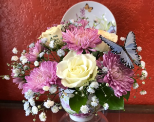 Precious Teacup Keepsake Arrangement in Benbrook, TX | BENBROOK FLORAL LLC.