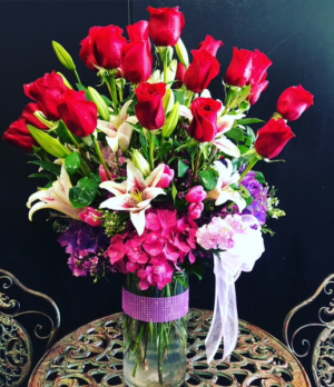 Premium 2 dozen roses and special mixed bouquet Tall cylinder vase with 2 dozen roses and premium mixed floral bouquet in Fresno, CA | FLOWERS AND MORE