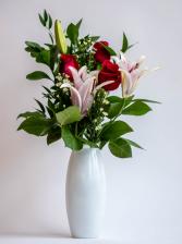 Premium 3 Rose Vase with Lily Vased Arrangement