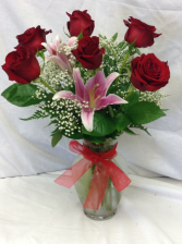 Premium 6 Rose Vase With Stargazer Lily