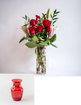 Premium 6 Rose with Lily Vase