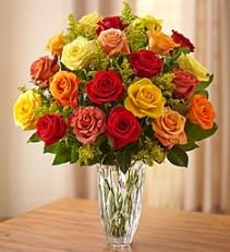 Premium Blended Roses, in Rich Jewel Tones  Marquis by Waterford Crystal Vase