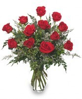 Premium Sexy Red Roses 1 Dozen Rose arrangement