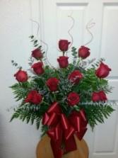 Premium Dozen Red Rose Vase (mixed greenery may vary)