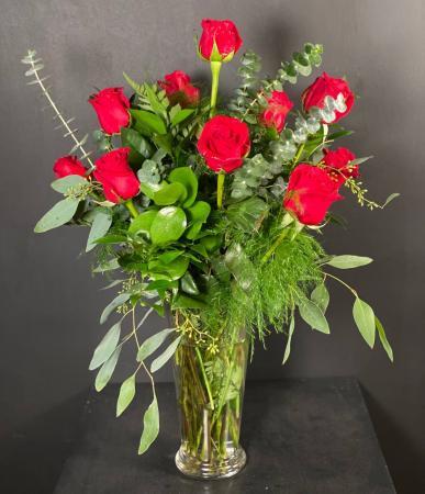 Premium Dozen Roses Red Rose Arrangement