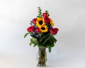 Premium Dozen Roses with Sunflowers Vased Arrangement