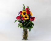 Premium Dozen Roses with Sunflowers Vased Arrangement