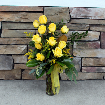 Premium Dozen Roses - Yellow Classic Rose Arrangement