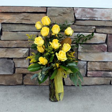 Premium Dozen Roses - Yellow Classic Rose Arrangement