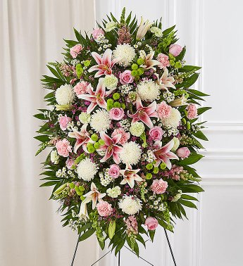 PREMIUM GREEN, PINK AND WHITE STANDING SPRAY STANDING FUNERAL PC ON A 6' STAND