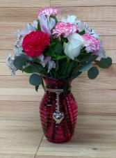 Premium  Half Dozen Carnations  Vase