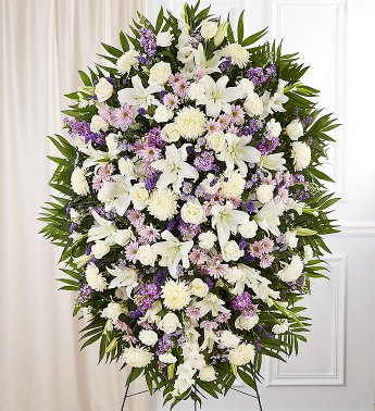 PREMIUM LAVENDER AND WHITE STANDING SPRAY STANDING FUNERAL PC ON A 6' STAND