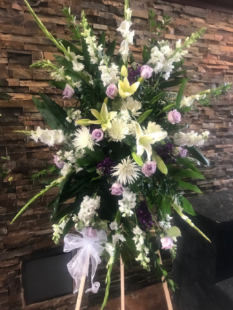 PREMIUM LAV/WHITE SPRAY STANDING FUNERAL PC ON A 6' STAND