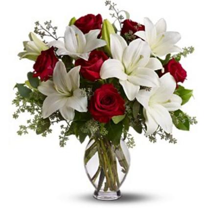 Premium Lily and Rose  Arrangement