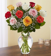 Premium Long Stem Assorted Roses Vase Arrangement
