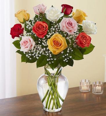 Premium Long Stem Assorted Roses Vase Arrangement