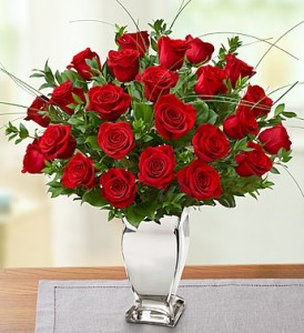 Premium Long Stem Red Roses in Silver Vase on Sale Special!