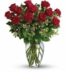 PREMIUM LONG STEM RED ROSES Vase