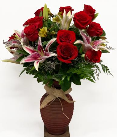 Premium One Dozen Roses Valentine Arrangement