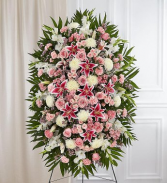 PREMIUM PINK AND WHITE STANDING SPRAY STANDING FUNERAL PC ON A 6' STAND