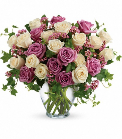 Premium Purple and White Roses Bouquet