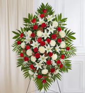 PREMIUM RED AND WHITE STANDING SPRAY STANDING FUNERAL PC ON A 6' STAND