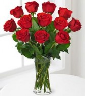 Premium Red Rose Bouquet with Vase  1 dozen