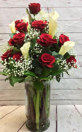 Premium Red Roses and Giant Calla Lilies