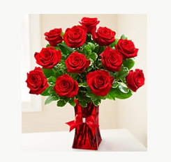 Premium Red Roses Dozen Red Roses w/Rinestone Bow in Oakdale, NY | POSH FLORAL DESIGNS INC.