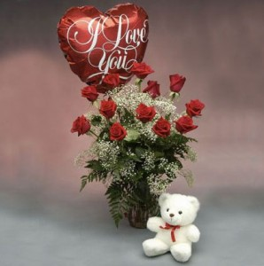 Premium Red Roses, White Bear & Balloon  A Favorite Gift of Love: 12, 18, or 24 Roses in Gainesville, FL | PRANGE'S FLORIST