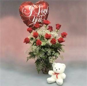 Premium Red Roses, White Bear & Balloon  A Favorite Gift of Love: 12, 18, or 24 Roses