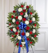 PREMIUM RED, WHITE AND BLUE STANDING FUNERAL PC ON A 6' STAND