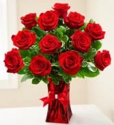 Premium Ruby Red Roses Vase