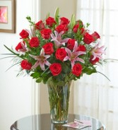 Premium Two Dozen Roses and Lilies