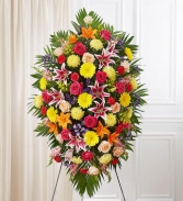 PREMIUM VIBRANT STANDING SPRAY STANDING FUNERAL PC ON A 6' STAND