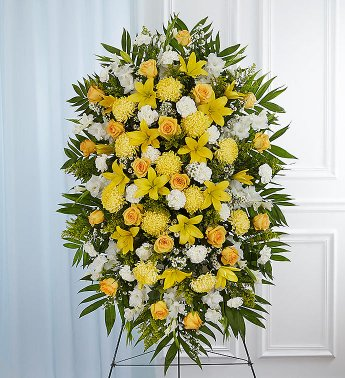 PREMIUM YELLOW ROSE, MUM AND LILLY SPRAY STANDING FUNERAL PC