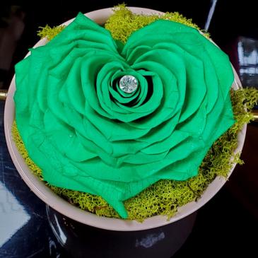 Preserved Rose Green Heart Preserved Rose