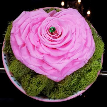 Preserved Rose Pink Heart Preserved Rose